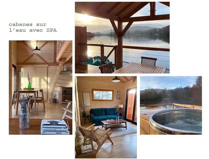 Montage photo des cabanes sur l'eau avec spa